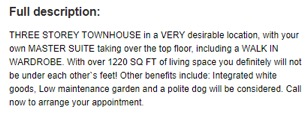 EXAMPLE OF GOOD ESTATE AGENCY DESCRIPTION OF RENTAL PROPERTY