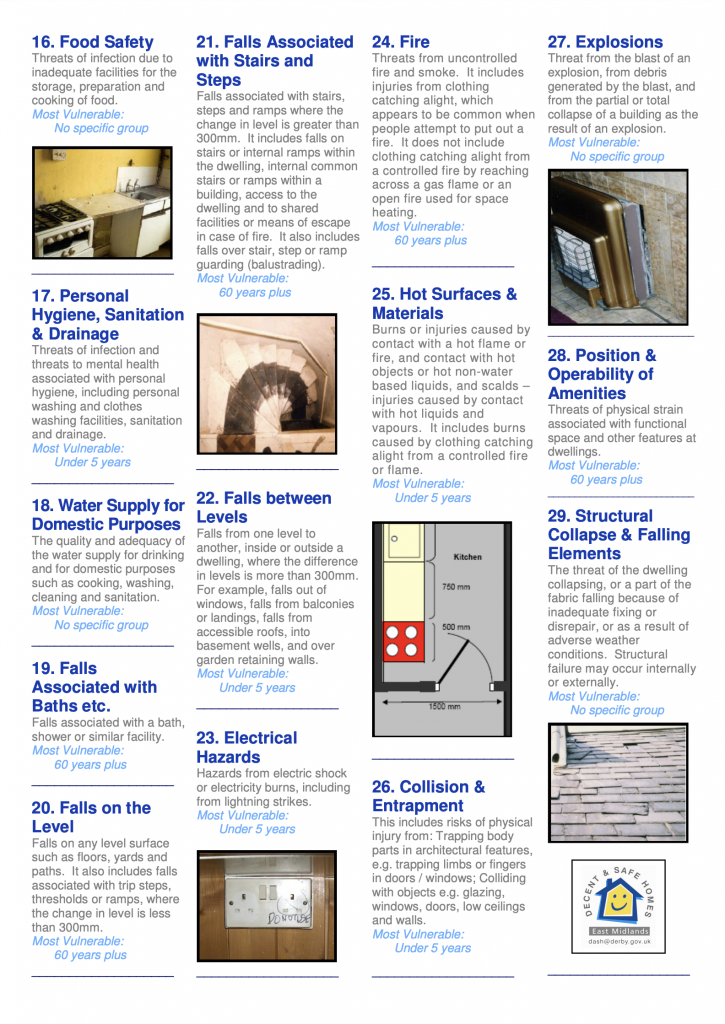 Thanks to DASH at Derby Gov UK for their Landlord Guide to the 29 Hazards